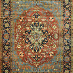 """Hand Knotted 9"""" x 12"""" Serapi Design Rug - This is a beautiful re-creation hand knotted Persian Serapi design rug from India. It has the traditional color combination made with pure wool on a cotton foundation."""