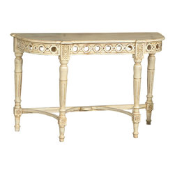 Console Table, Natural - This lovely Indian-inspired console table is ideal for adding interest and dimension in the entry or living area. The creamy off-white finish highlights the many design features including the interesting four-leg base, intricate pierced carving on the apron, and gracious botanical carvings at the leg joints. A curvaceous and flowing design, this console table is a welcoming piece at your front door or as a bold accent in the dining area. Simply add a gorgeous vase of fresh flowers for a stunning look for your home.