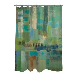 None - Thumbprintz Seawall Shower Curtain - With abstract art by Silvia Vassileva,this unique shower curtain will bring chic,urban style to your bathroom decor. Decorated in cool shades of blue,green and natural,this striking curtain features a machine washable construction.