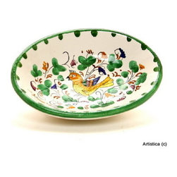 Artistica - Hand Made in Italy - Arabesco Verde: Small Oval Bowl - Arabesco Collection: The Arabesco evokes Italian country charm and is one of the most popular patterns created in Deruta - Italy.