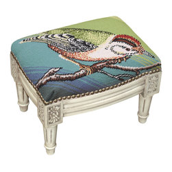 Bird on Blue Background Needlepoint Small Footstool - Great for Asian, traditional, French Country, shabby chic or almost any decor. These are small so they are great for tight spaces. Use for extra seating if you need it.