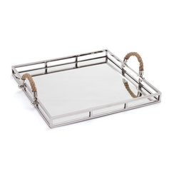 Go Home - Polished Nickel Squire Tray - Amazing Polished Nickel Squire Tray is perfect for your serve ware.Tray have two rope handles at each end that allowing for ease in handling.It is crafted with stainless steel frame with polished nickel finish and mirror surface.It is a perfect gift idea.