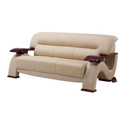 Global Furniture - Sofa in Cappuccino with Mahogany Legs Bonded Leather - Upholstered in cappuccino bonded leather the Global Furniture USA sofa has been modeled to cater to both the desires of the contemporary or transitional home for design and comfort.