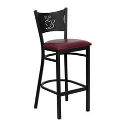 Flash Furniture - Flash Furniture Black & Burgundy Metal Restaurant Bar Stool - This heavy duty commercial metal bar stool is ideal for Restaurants Hotels Bars Pool Halls Lounges and in the Home. The lightweight design of the stool makes it easy to move around. The tubular foot rest not only supports your feet but acts as an additional reinforcement that helps secure the legs. This stool will keep you comfortable with the easy to clean vinyl upholstered seat. You will not regret the purchase of this bar stool that is sure to complement any environment to fill the void in your decor. [XU-DG-60114-COF-BAR-BURV-GG] Operating out of Etowah GA (with a warehouse in Reno NV) Flash Furniture specializes in bold upbeat décor for home office or commercial spaces. With a wide array of colors and fashions to fit your budget Flash Furniture accommodates your every need. Features include Heavy Duty Restaurant Bar Stool Coffee Back Design Burgundy Vinyl Upholstered Seat 2.5'' Thick 1.4 Density Foam Padded Seat 18 Gauge Steel Frame Welded Joint Assembly Two Curved Support Bars Foot Rest Rung Black Powder Coated Frame Finish Plastic Floor Glides CA117 Fire Retardant Foam Designed for Commercial Use; Suitable for Home Use. Specifications Seat Size: 16.75W x 16.5D Back Size: 17W x 11.75H Seat Height: 30.5H Finish: Black Powder Coat Color: Black Burgundy Upholstery: Burgundy Vinyl.
