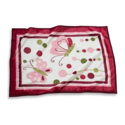 Lambs & Ivy - Lambs & Ivy Raspberry Swirl High Pile Blanket - Bright-colored high pile blanket with dots, circles, swirls and butterflies is the perfect coordinate to the fun and colorful Raspberry Swirl crib bedding. 85% acrylic/15% polyester.