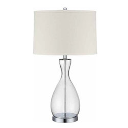 Lite Source - Lite Source Mirella 100W Incand. Modern / Contemporary Table Lamp XSL-77222 - The Mirella modern table lamp is sure to impress.  Clear glass body, polished steel base and pole, and crisp off-white hardback fabric shade will accentuate your space with sophistication while adding style.