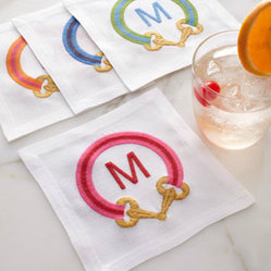 Four iomoi Cocktail Napkins - Add some color to your next cocktail party with these monogramed napkin rings with embellished buckle frames. These are a cute little accessory that can make even a bland drink taste amazing! Remember, it's all in the presentation!