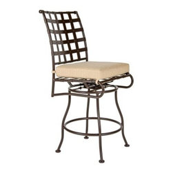 O.W. Lee Classico Armless Swivel Barstool - You'll love sitting outside during the warm summer months enjoying a cold drink and good company while sitting comfortably in the O.W. Lee Classico Swivel Barstool. Handcrafted from wrought iron this swivel barstool features gorgeous and rich Old World craftsmanship and a classic design that complements any decor. Designed to bring comfort style and tranquility to your patio you'll love looking at this chair as much as you love sitting in it. The Classico Swivel Barstool comes with your choice of Sunbrella cushion so you can accent your existing patio furniture as well as display your own taste and style. Sunbrella cushions are fade- stain- mildew- and water-resistant easy to clean with mild soap and water and come with a five year warranty. You friends and family will enjoy coming over to your house to enjoy food and drinks outdoors playing games talking and just spending time together. The Classico Swivel Barstool gives you just one more reason to invite people over whenever it's warm outside. Please note: This item is not intended for commercial use. Warranty applies to residential use only. Please note: This piece will be delivered with White Glove service which includes location placement. Unpacking and assembling the item will be left to the customer. Due to the custom-made nature of this item orders usually ship within approximately 5 weeks. Because each item is assembled just for you orders cannot be cancelled. A 50% restocking fee will apply for returns. This item is custom-made to order which means production begins immediately upon receipt of each order. Because of this cancellations must be made via telephone to 1-800-351-5699 within 24 hours of order placement. Emails are currently not acceptable forms of cancellation. Thank you in advance for your consideration in this matter. Materials and construction:Only the highest quality materials are used in the production of O.W. Lee Company's furniture. Carbon steel galvanized steel and 6061 alloy aluminum is meticulously chosen for superior strength as well as rust and corrosion resistance. All materials are individually measured and precision cut to ensure a smooth and accurate fit. Steel and aluminum pieces are bent into perfect shapes then hand-forged with a hammer and anvil a process unchanged since blacksmiths in the middle ages. For the optimum strength of each piece a full-circumference weld is applied wherever metal components intersect. This type of weld works to eliminate the possibility of moisture making its way into tube interiors or in a crevasse. The full-circumference weld guards against rust and corrosion. Finally all welds are ground and sanded to create a seamless transition from one component to another. Each frame is blasted with tiny steel particles to remove dirt and oil from the manufacturing process which is then followed by a 5-step wash and chemical treatment resulting in the best possible surface for the final finish. A hand-applied zinc-rich epoxy primer is used to create a protective undercoat against oxidation. This prohibits rust from spreading and helps protect the final finish. Finally a durable polyurethane top coating is hand-applied and oven-cured to ensure a long lasting finish. About SunbrellaSunbrella has been the leader in performance fabrics for over 45 years. Impeccable quality sophisticated styling and best-in-class warranties prove the new generation of Sunbrella offers more possibilities than ever. Sunbrella fabrics are breathable and water-repellant. If kept dry they will not support the growth of mildew as natural fibers will. Beautiful and durable Sunbrella is a name you can trust in your outdoor furniture. About O.W. Lee CompanyAn American family tradition O.W. Lee Company has been dedicated to the design and production of fine handcrafted casual furniture for over 60 years. From their manufacturing facility in Ontario California the O.W. Lee artisans combine centuries-old techniques with state-of-the-art equipment to produce beautiful casual furniture. What started in 1947 as a wrought-iron gate manufacturer for the luxurious estates of Southern California has evolved three generations later into a well-known and reputable manufacturer in the ever-growing casual furniture industry.