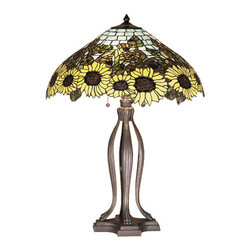 """Meyda Tiffany - 30""""H Wild Sunflower Table Lamp - A field of sparkling Country Brown eyed, Farm Yellow sunflowers growing on stalks of summer Bronzed Green leaves, edge this Meyda original Tiffany style Sky Blue tiled shade. Bring nature into your home with this hand cut and copper foiled stained glass shade setting atop a table lamp base in a hand applied Mahogany Bronze finish."""