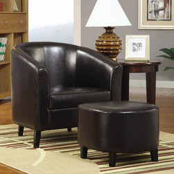 Coaster - Accent Chair w Ottoman - Side table not included. Casual style. Barrel back accent chair. Rolled arms. Leather-like vinyl upholstery. Removable seat cushion. Short square legs. Upholstered oval ottoman. Brown color. Seat depth: 21.5 in.. Chair: 29.5 in. W x 28.5 in. D x 29.5 in. H. Ottoman: 18.25 in. L x 16.75 in. W x 15.5 in. H. WarrantyDress up any living room or bedroom with this barrel back accent chair and ottoman set. Casual, yet, stylish, this chair and ottoman set is sure to make a great addition to your home decor.