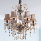 """Amber Teak"" Chandelier - The ""Amber Teak"" chandelier will delight with its graceful curves and elegant styling.  It would be a wonderful addition to any room in your home, especially a bedroom, dining room or a large, elegant master bath."