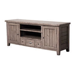 Four Hands - Irish Coast TV Console 3 Drawer/2 Door - Rustic charm and hand-finished carpentry come together to make this bench-built beauty a modern must-have for your media center. You'll have loads of surface, shelf and cabinet storage space for your big-screen TV, cable boxes and other components.