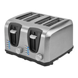 Kalorik - 4- Slice Toaster, Stainless Steel by Kalorik - High-tech toasting technology gets a high-style look with this 4 slice sleek stainless steel toaster featuring black accents. Get your day started with an easy-to-use family-size toaster that includes 4 functions with a LED light indicator for each: cancel toasting at any moment, reheat a previously toasted piece of bread, or automatically thaw a previously frozen piece of bread and lastly, toast bagels to perfection. A precise toasting time adjustment delivers perfectly golden brown toast every time. This toaster also includes an auto pop up and auto shut-off, and a slide out crumb trays which makes clean up quick and easy.