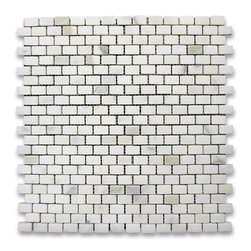 "Stone Center Corp - Calacatta Gold Marble Mini Brick Mosaic Tile 5/8x3/4 Honed - Calacatta gold marble 5/8"" x 3/4"" brick pieces mounted on 12"" x 12"" sturdy mesh tile sheet"