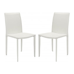 Safavieh - Karna Dining Chair  (Set Of 2) - The minimalist aesthetic of the Karna Dining Chair (sold in a set of two) suits decorating tastes both transitional and contemporary. Upholstered with easy-care white bonded leather, these chairs are made to withstand wear and tear from demanding guests while exuding Euro-chic style.