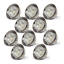 TORCHSTAR - Lot of 10 Dimmable 12V 3W MR16 LED Bulbs, Daylight - Overview