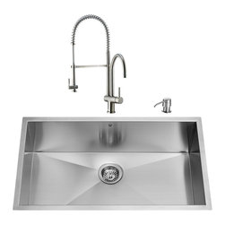 """VIGO Industries - VIGO All in One 32-inch Undermount Stainless Steel Kitchen Sink and Faucet Set - Enhance the look of your kitchen with a VIGO All in One Kitchen Set featuring a 32"""" Undermount kitchen sink, faucet, soap dispenser, matching bottom grid and sink strainer."""
