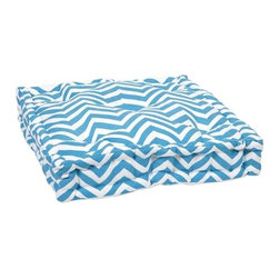 """IMAX - Blue Chevron FLoor Cushion - This functional floor cushion features a fun blue chevron print fabric with tufted details. Item Dimensions: (20""""L x 20"""")"""