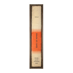 The Book Collection: Gautier - Framed Print - Enclosed in a frame of neutral wood, the spine of this boldly-designed, mid-century volume makes a transitional, studious statement. The Book Collection: Gautier is quite simply a dramatically oversized rendition of an authentic book spine, produced at a remarkable four feet high so it can be staggered with similar paintings on your wallor fill an awkward vertical space on its own.