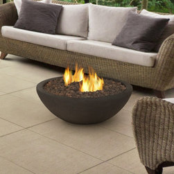Real Flame Hampton Firebowl - This contemporary firebowl will be the centerpiece to any outdoor patio area, deck, or three-season room. Cast from a high performance, lightweight fiber-concrete. This firebowl uses Real Flame Ventless Fireplace Fuel, and is easily snuffed out with the included tool.Also included is a protective cover and removable burn troughs for easy cleaning.