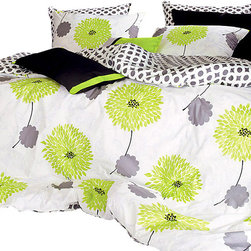 Silver Fern Decor - Lime Green Floral Duvet Cover Set, Queen - 1100TC Duvet Cover Set Includes: - 1 Duvet Cover: lime green floral pattern on front (gray & white circle pattern on back) - 2 Sham Covers: lime green floral pattern ( * Available in queen, king size)