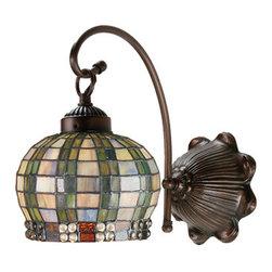 Meyda - 7 Inch W Jeweled Basket 1-Light Wall Sconces - Color theme: Green/blue XAG 59 clear mahogany bronze