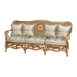 Royola Pacific - Solid Wood & Rattan Bentwood Elizabethan Sofa Couch - •Solid wood construction w/ rattan accents
