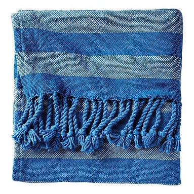 Cobalt Awning Stripe Throw - I love the super-saturated color on this throw from Serena & Lily. It's big yet lightweight, making it extra versatile. Use it as a beach or picnic blanket, carry it into the backyard to stargaze on a chilly night or, of course, toss it over your sofa or favorite chair.