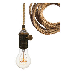 Hammers & Heels - Nautical Ship Rope Bare Bulb Pendant Light - THE MINIMALIST BARE BULB PENDANT LIGHT.