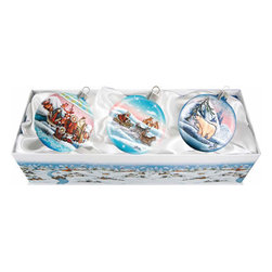 "Set of Three Artistic Glass Arctic Christmas Ornaments w/ Gift Box - Measures 4.25""H x 13.5""L x 5""W and weighs 1.5 lbs. Invite the beauty of the season into your home with the G. DeBrekht collection of hand painted glass Christmas ornaments, inspired by an old Russian Fedoskino and Palekh Artistic technique. Decorating your Christmas tree is a special time for families, with G. DeBrekht ornaments you can choose your style and create a true gallery of art for your family to enjoy. G. DeBrekht fine art traditional, vintage style glass holiday ornaments are artistically hand painted with a combination of transparent and opaque paint for a realistic, deep iridescent lighting effect on each G. DeBrekht ornament. Each ornament is adorned with a miniature detailed Christmas scene, accented with touches of gold or silver, finished with a lovely satin ribbon and then placed in a luxurious satin lined box. In the spirit of giving, G. DeBrekht ornaments and decor also make beautiful Christmas and holiday gifts to share with loved ones. Every G. DeBrekht ornament and decoration is an original work of art sure to be cherished as a family tradition for generations to come. Some ornaments may have slight variations of the decoration on the ornament due to the hand painted nature of the product."
