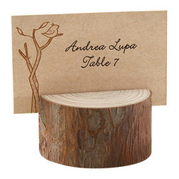 """Handcrafted Model Ships - Set of 4 - Rustic Wood Placecard and Photo Holder 1"""" - In a forest. On a farm. In a vineyard. Here's the charm. When it's all about trees and nature, only real wood will do. Our Set of 4 - Rustic Wood Place card and Photo Holder 1"""" is stunningly simple, a real-wood place card/photo holder adds to the beauty of any setting where family, friends and the beauty of nature are gathered."""