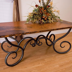 "Mathews & Company - Milan Dining Table with 44"" x  72"" Soft Oval Copper Top - Pictured in Copper top and Black finish."