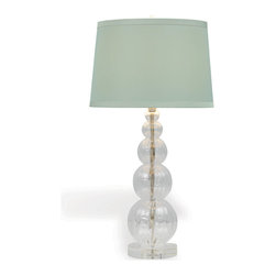 Kathy Kuo Home - Alessandra Light Green Glass Coastal Style Table Lamp - Who would have thought that a glass bubble tower lamp could look so elegant?  Crafted from hand-blown glass on a crystal base, the Alessandra delivers a buoyant, joyful illumination in the form of an elegant art glass lamp.