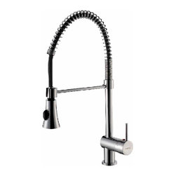 Renovators Supply - Kitchen Faucets Chrome Single Handle Kitchen Faucet Pullout | 17429 - Be the Chef in your kitchen with this pro-style pullout faucet. Constructed of solid brass with tarnish-free chrome plating this faucet is flexible allowing you to direct water where needed. Ergonomic single lever lets you control water temperature and flow with just one hand. Spray options at your finger tips select between spray and stream. Single hole design allows your countertop to stay clean and sanitary with little maintenance. Measures 20 1/2 inch H x 10 inch projection 6 3/8 inch spout to counter (flexible).