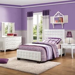 Homelegance - Homelegance Sparkle 4 Piece Upholstered Bedroom Set in White Bi-Cast Vinyl - The glamour girl in your life will swoon when she opens her bedroom door to the Sparkle Collection. Fashion forward and scaled to fit her needs, this trendy bedroom will make her the envy of all of her friends. White bi-cast vinyl is featured not only on the tufted headboard, but on the drawer fronts of each case piece and coordinating vanity and storage stools. Clear hardware is faceted for maximum sparkle and punctuates each drawer front. Matching vanity features a hidden mirror within the lift top storage area. - 2004-UB-4-SET.  Product features: Fashion forward and scaled to fit her needs; Clear hardware; Tufted headboard; White bi-cast vinyl upholstery; Available in Twin and Full sizes. Product includes: Bed (1); Nightstand (1); Dresser (1); Mirror (1). 4 Piece Upholstered Bedroom Set in White Bi-Cast Vinyl belongs to Sparkle Collection by Homelegance.