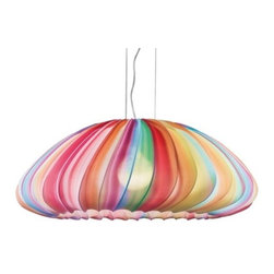 AXO Light - Muse Suspension by AXO Light - Hang sweetness from the ceiling with the pastry-inspired AXO Light Muse Suspension. Likened to the top of a colorful cupcake, this contemporary suspension is sure to tantalize visual tastes and whet the appetite for more. Measuring over 2.5' across, the Muse Suspension provides a healthy (wink!) dose of warm, diffused lighting for the creative dining room or office space.Italy's AXO Light combines traditional Venetian glasswork and artisan craftwork with avant-garde lighting techniques and innovative materials. Their design philosophy is clear: use creativity and inspiration to create stunning lighting replete with value and emotion.The AXO Light Muse Suspension is available with the following:Details:Silken elastic fabric shadeMetal frameCeiling canopySuspension cables Shade is detachable and washableDesigned by Sandro SantantonioOptions:Shade: Dark Blue, Fuchsia, Green, Light Blue, Multicolor, Orange, Pink, Red, Violet, White, or Yellow.Lighting: One 150 Watt 120 Volt Type E26 Incandescent lamp (not included), or one 21 Watt 120 Volt Type E26 Fluorescent lamp (not included).Shipping:This item usually ships within 2 to 4 weeks.