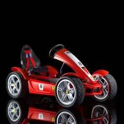 Berg USA Ferrari FXX Exclusive Riding Toy - Say arrivederci to the Big Wheel when your child can have the Berg USA Ferrari FXX Exclusive Riding Toy. Not only is this pedal-powered road monster designed to protect and entertain your little one, but the authentic styling from front end to flared sides and wheel arches is licensed by our friends at Ferrari, and it shows. Each of the four air-filled tires is set on a metal rim with Ferrari badges, and powered by simple pedals that work going forward, in reverse, while coasting, and even as brakes. For extra performance, your child can use the hand-operated brake for a safe stop. They'll never let go of the leather-wrapped steering wheel, and the little touches like the hood pins and exhaust stickers make this a racer to envy. This toy has a weight of 152 lbs and is recommended for children ages 5 and up.Additional FeaturesBF-7 (brake and freewheel with 7-speed gear shift) hub for speed and pedal controlSealed-bearing wheels for speedy rollingOversized Ferrari-stylized metal 5-point rimsIncludes parking brake4 wheel mud guards, 4-point harness, and chain cover for safetyFerrari-red front fairing with hood pinsDashboard onboard computer and decalsNumber 8 decals plus Ferrari logos and FXXRear spoiler sports authentic silver racing horseAdjustable black padded sport cushion seatSpecifically designed for more leg roomLeather-wrapped sport-grip steering wheelAbout Berg USAFounded in 2010, Berg USA is quickly becoming a recognized name in children's riding toys with their innovative designs and attention to safety that don't get in the way of their dedication to providing outdoor exercise for both kids and adults. Berg USA designs and offers a wide variety of high-quality pedal go-karts for home or commercial use ranging in size to comfortably accommodate ages 2 through adult, as well as their versatile line of MOOV construction kits.Please note this product does not ship to Pennsylvania.
