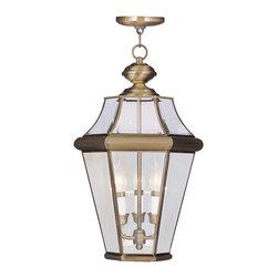 Livex Lighting - Livex Lighting 2365-01 Georgetown Outdoor Pendant Antique Brass - -Finish: Antique Brass