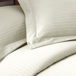Colonial Home Textiles - Ivory Stripe 800-Thread Count Duvet Set - Perfect for discerning tastes, this lovely set will turn any mattress into a masterpiece within moments. There's no guesswork needed to create a luxuriously soft and stylish sleeping area—the matching shams coordinate perfectly already.   Includes duvet cover and two shams 55% cotton / 45% polyester 800-thread count Machine wash; tumble dry Imported