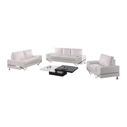 American Eagle Furniture - 7240 White Bonded Leather Three Piece Sofa Set - The 7240 sofa set has a stylish modern design that will be a great addition for any living room setting. This sofa set comes upholstered in a stunning white bonded leather on the front where your body touches. Carefully chosen match material is used on the back and sides where contact is minimal. High density foam is placed within each piece for added comfort. The sofa set features a unique polished steel leg design that is incorporated into the sides accenting each piece and adding to the overall look. The sofa set shown includes a sofa, loveseat, and chair only. The coffee table shown is NOT included.
