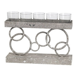 5 Circles Votive Holder, Gray - You can play the circle game by just adding a touch of something with circles on it. This candleholder is very elegant and useful.