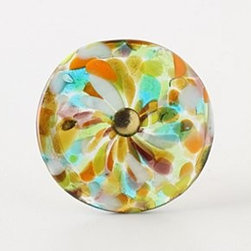 "Anthropologie - Molten Spectrum Knob, Warm Speckles - Tighten with careNo additional hardware requiredGlass, iron2.25"" diameter0.75"" projection1.75"" bolt can be trimmed to sizeImported"