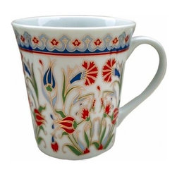 Grande - Turkish Porcelain Tea and Coffee Mug, Gold Accented Floral, Style 2 - Tea and coffee mug made of white porcelain with vivid, colorful Turkish floral pattern outlined with luminous gold.  Pattern is on both sides of the cup and you'll like the feel of the wider flat handle.  Make your morning coffee or afternoon tea time an aesthetic and pleasurable experience.  Tea or coffee mug holds 7.5 ounces.