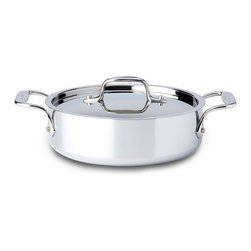 All-Clad - All-Clad Tri-Ply Stainless Steel 2 qt. Saute Pan w/2 Loops & Lid (44025) - Timeless design, outstanding performance, effortless cleaning and lifetime durability come together to make the Stainless Collection cookware All-Clad's most popular. Featuring innovative bonded construction combining an interior layer of aluminum for even heating and an 18/10 stainless cooking surface for optimum culinary performance, All-Clad Stainless cookware is a classic expression of ideal form and function.