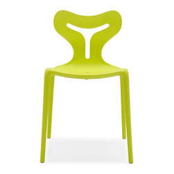 Calligaris - Area 51 Stackable Outdoor Chair in Lime (Set - Pictured in Light Green. Stackable chair, suitable for outdoor use. Attractive sinuous backrest design. Monoblock made entirely from polypropylene, using the Airmoulding process. Slightly textured surface. This technique produces a chair that is extremely robust yet lightweight. Assembly required. Seat height: 17.75 in.. 20 in. W x 19.75 in. D x 31.5 in. H