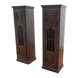 Boston Harmony Double Armoire Set - Extra space and a beautiful design makes beautiful music. The Boston Harmony Double Armoire Set is made of solid Indian Rosewood with hand carved details and classic iron work. Each cabinet has four deep shelves that swing wide open for easy access. The dark oak stain adds an elegant look to this bedroom set.
