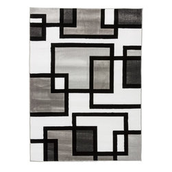"""Infinity Home Source - Melody Naarly Black & White 5'3"""" x 7'3"""" Infinity Home Area Rug (50193) - What makes this line unique the bright and bold color combinations along with CARVING around the patterns. The construction is of super heavy heat-set polypropyleneThis area rug is simple to clean, extremely resistant to staining, colorfast, and shed-free.It will add a playful touch to just about any room."""