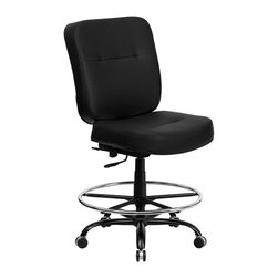 Flash Furniture - Flash Furniture Hercules Leather Drafting Stool in Black - Flash Furniture - Drafting Chairs - WL735SYGBKLEADGG - This drafting chair has been tested to hold up to 400 lbs.! Not only will this chair hold the above average person but it is amazingly comfortable. Chair will appeal for users of all heights and weights because of its comfort and sturdy construction.