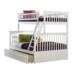 Atlantic Furniture - Columbia Bunk Bed Twin Over Full / Raised Panel Trundle Bed / White - The Columbia Bunk Bed Twin over Full / Raised Panel Trundle Bed / White is finished in a vibrant white that was put on in 5 careful steps to ensure it looks new for years. The bed was built with eco-friendly Rubberwood; making it kid-strong and beautiful. Your child will love having a great view of her room while sleeping up high on the twin bed, and will enjoy having sleep space for friends and siblings on the full bed below. This bunk bed set offers convenience, style and functionality all in one great space.