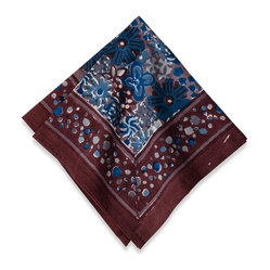 "Candy Flower Napkins, Blue/Brown, 19""x19"""